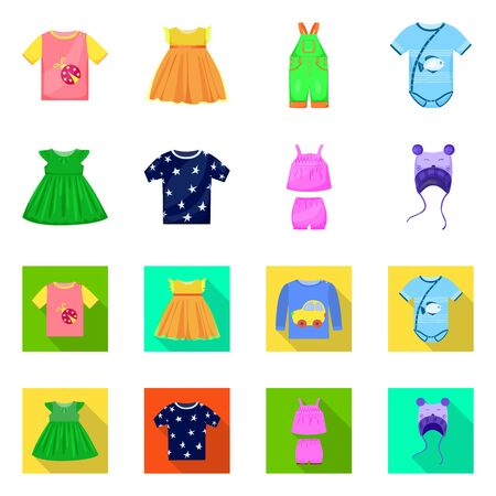 Vector illustration of fashion and garment sign. Set of fashion and cotton stock symbol for web.
