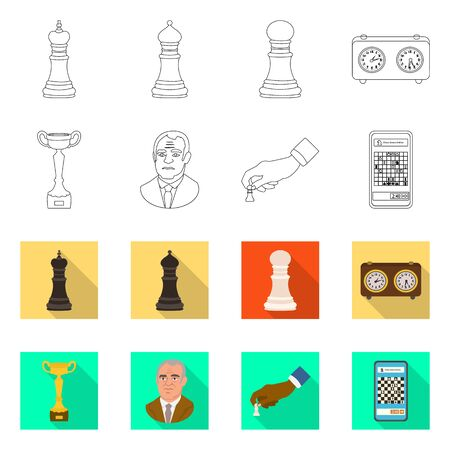 Vector illustration of checkmate and thin icon. Collection of checkmate and target stock vector illustration. 向量圖像