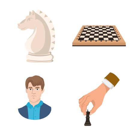 Vector illustration of chess and game icon. Set of chess and strategy stock symbol for web. 向量圖像