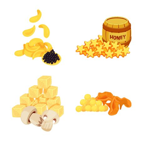 Vector design of food and product icon. Set of food and party stock vector illustration.