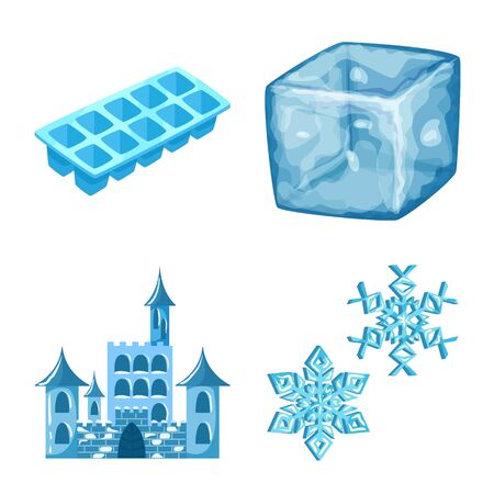 Isolated object of frost and water  . Set of frost and wet vector icon for stock.