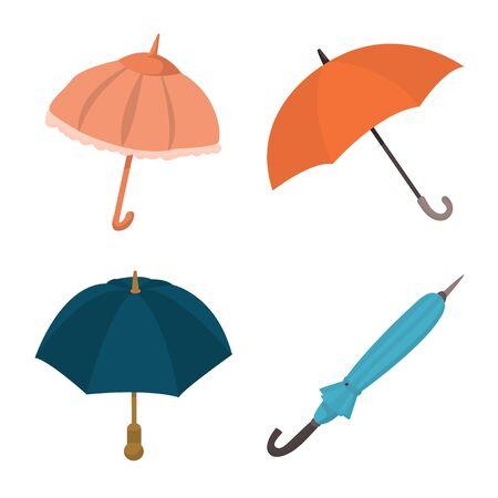 Vector illustration of umbrella and rain symbol. Set of umbrella and weather vector icon for stock. 向量圖像