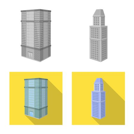 Vector illustration of construction and building  . Collection of construction and estate stock vector illustration.