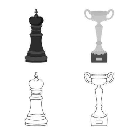 Isolated object of checkmate and thin icon. Collection of checkmate and target stock symbol for web.