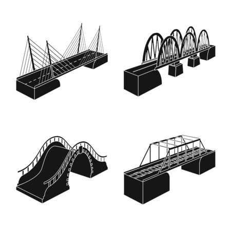 Vector illustration of construct and side icon. Collection of construct and architecture stock symbol for web. 向量圖像