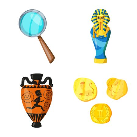 Vector design of archaeology and historical  . Collection of archaeology and excavation vector icon for stock. 向量圖像