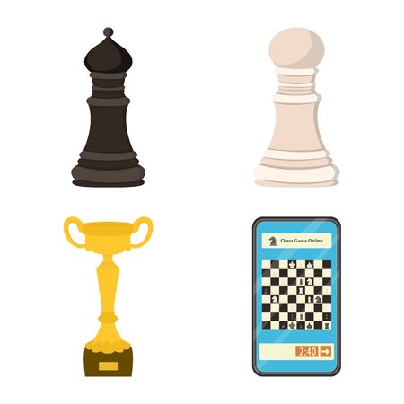 Vector design of chess and game symbol. Collection of chess and strategy stock symbol for web.