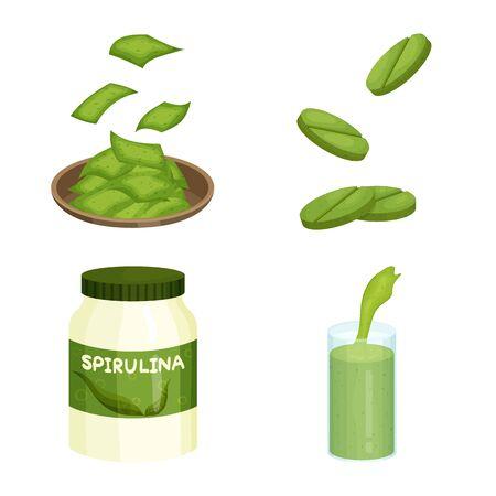 Vector illustration of spirulina and seaweed sign. Set of spirulina and vegan stock symbol for web. 向量圖像