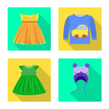 Vector illustration of fashion and garment  . Collection of fashion and cotton vector icon for stock.