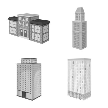 Vector illustration of realty and modern  . Set of realty and building stock vector illustration.