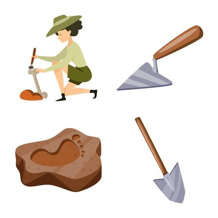 Vector illustration of archaeology and historical icon. Collection of archaeology and excavation stock symbol for web.