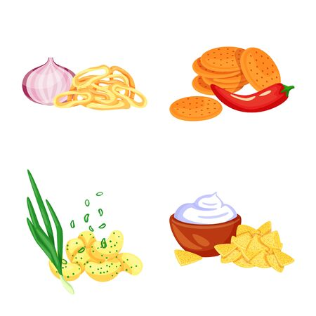 Vector illustration of food and product sign. Collection of food and party stock symbol for web.