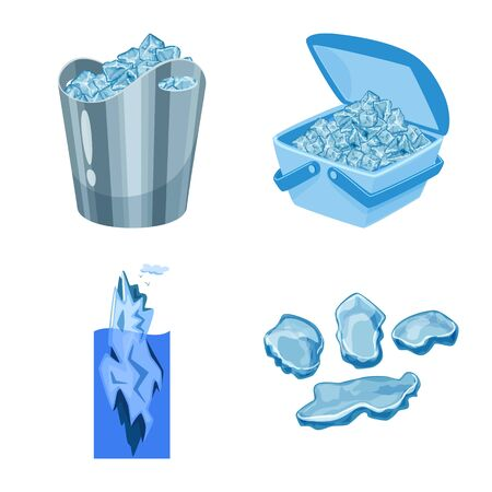 Vector illustration of frost and water symbol. Collection of frost and wet vector icon for stock. 向量圖像