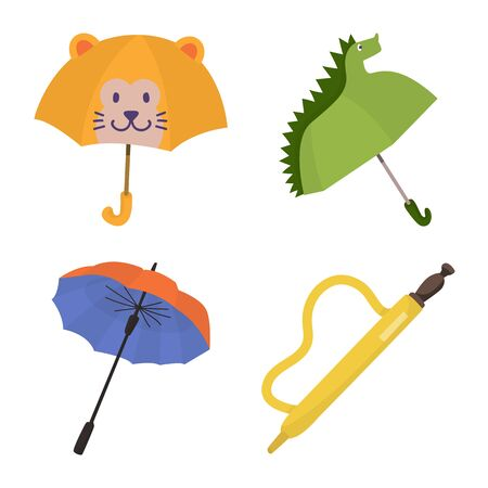 Vector illustration of umbrella and rain symbol. Set of umbrella and weather stock vector illustration.