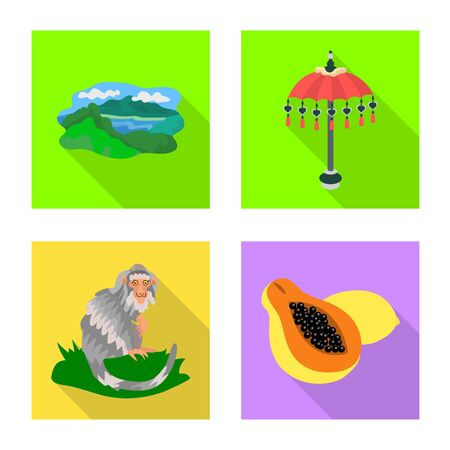 Isolated object of travel and tourism icon. Set of travel and island vector icon for stock. 向量圖像