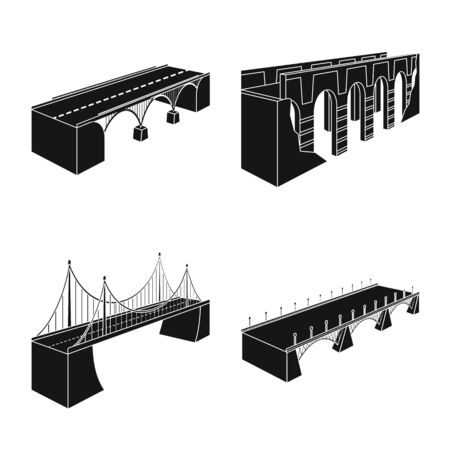 Isolated object of construct and side  . Collection of construct and architecture stock vector illustration. 向量圖像