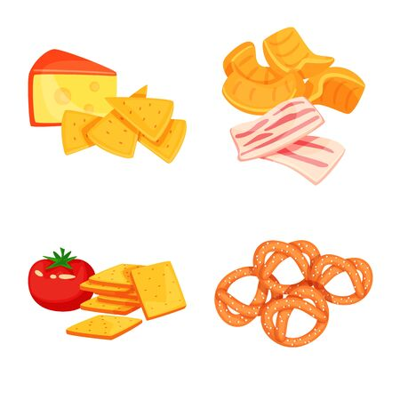 Isolated object of food and product  . Set of food and party stock symbol for web. 向量圖像