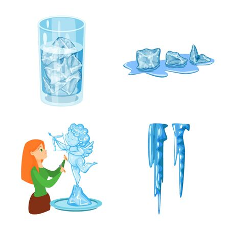 Isolated object of frost and water . Collection of frost and wet vector icon for stock.