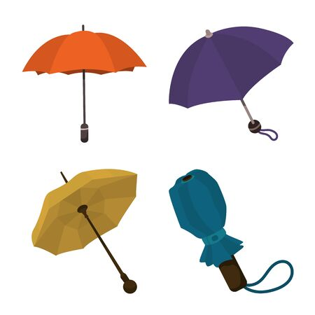 Vector design of umbrella and rain sign. Collection of umbrella and weather stock symbol for web.