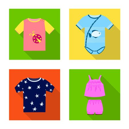 Vector illustration of fashion and garment  . Set of fashion and cotton stock symbol for web.