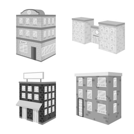 Vector illustration of realty and modern icon. Collection of realty and building vector icon for stock.