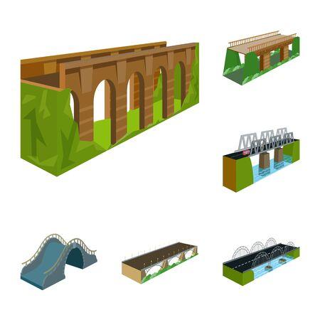 Vector illustration of bridgework and architecture symbol. Collection of bridgework and structure stock vector illustration.