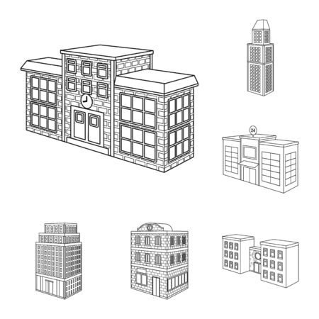 Isolated object of home and apartment icon. Collection of home and modern stock vector illustration. 向量圖像