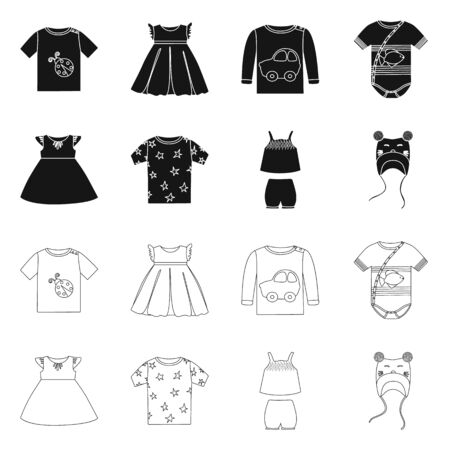 Vector illustration of fashion and garment  . Collection of fashion and cotton stock symbol for web.