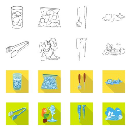 Vector illustration of texture and frozen  . Collection of texture and transparent stock vector illustration.