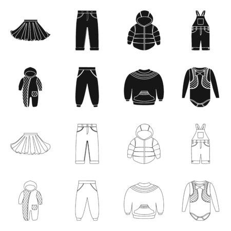 Isolated object of fashion and garment icon. Set of fashion and cotton stock symbol for web. 向量圖像