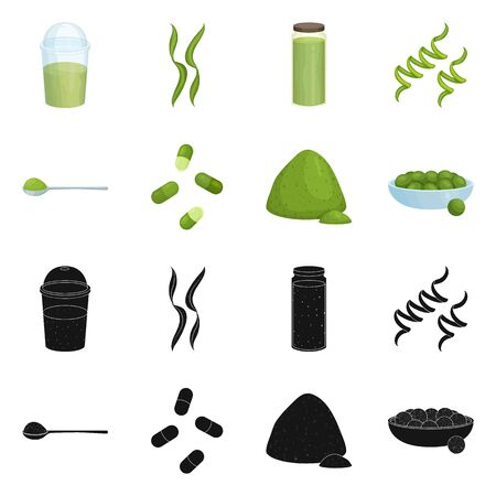 Vector design of protein and sea symbol. Collection of protein and natural stock symbol for web.