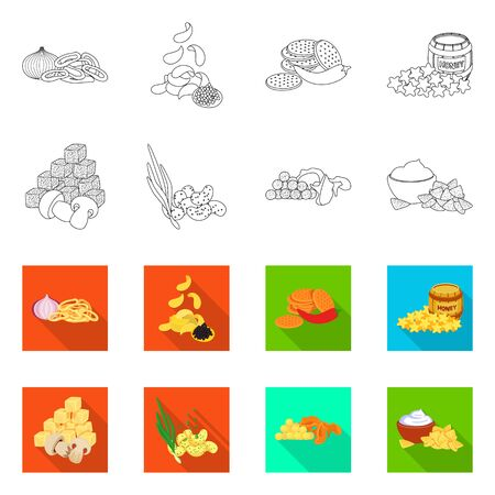 Isolated object of taste and seasoning. Collection of taste and organic stock symbol for web. 向量圖像