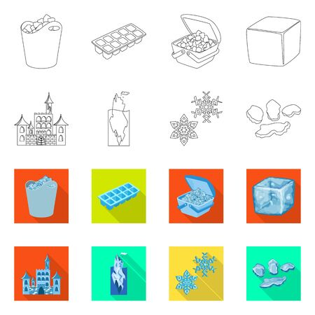 Vector design of texture and frozen icon. Collection of texture and transparent stock vector illustration. 向量圖像