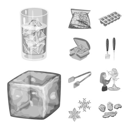 Isolated object of square and purity  . Collection of square and frozen stock symbol for web.