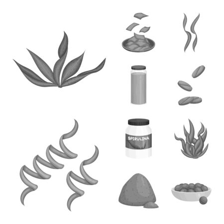 Isolated object of plant and weed sign. Collection of plant and sea stock vector illustration. 向量圖像