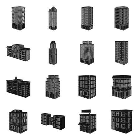 Vector design of architecture and estate icon. Collection of architecture and build vector icon for stock.