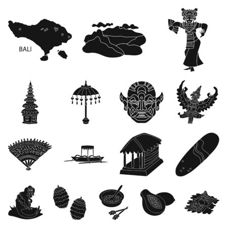 Isolated object of and traditional icon. Collection of and bali stock symbol for web. 向量圖像