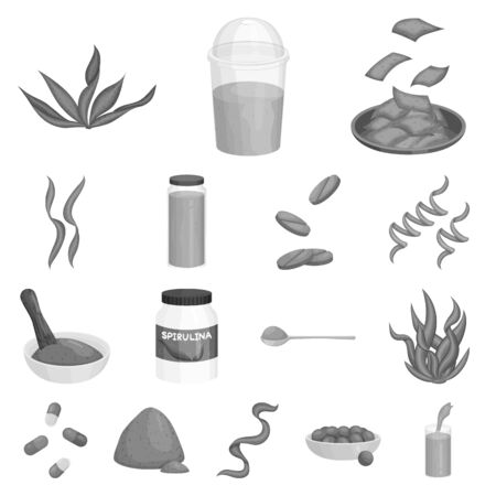 Vector design of plant and weed  . Set of plant and sea stock vector illustration.