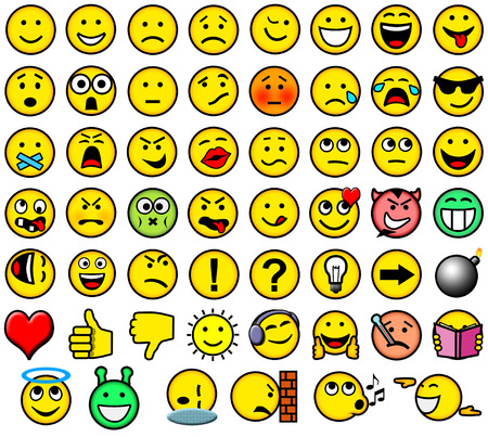 Classic retro style 54 smileys Stock Photo - 24692515