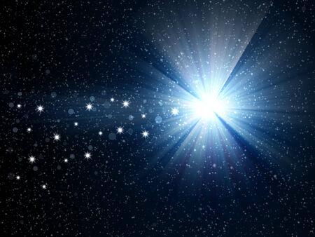 Christmas star on night sky photo