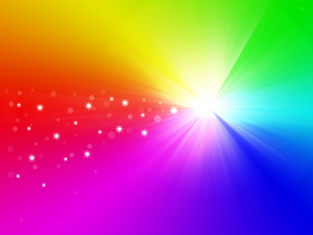 Christmas star on rainbow background photo