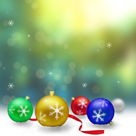 Christmas decoration with snow and bokeh photo