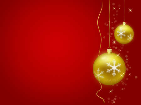 Golden christmas decorations with red background photo