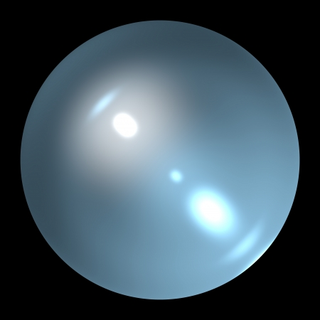 fortuna: Empty pearl crystal ball isolated on black background 3d illustration