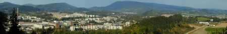 compiled: Panorama of city Roznov pod Radhostem  Czech Republic  in year 1999, compiled from multiple photos Stock Photo