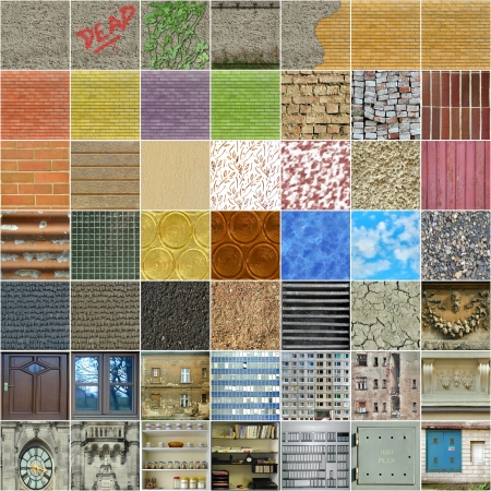 Set of 49 square textures, mostly seamless photo