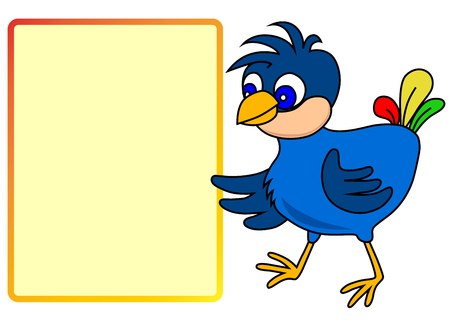 Little bird pointing to message board Vector