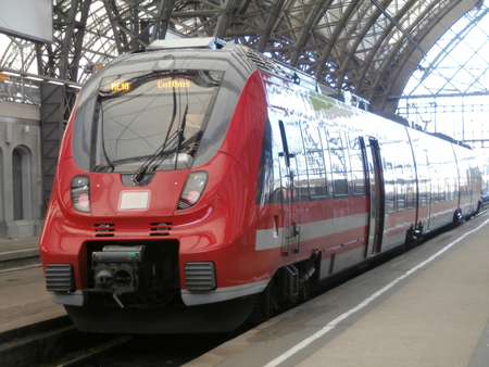 Dresden, Germany, December 7, 2013 - Train in Dresden main railway station Stock Photo - 24957984