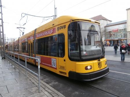 ag: Dresden, Germany, December 7, 2013 - Dresdner Verkehrsbetriebe AG - streetcar in Dresden