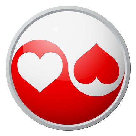 Yin-yang heart symbol Vectores